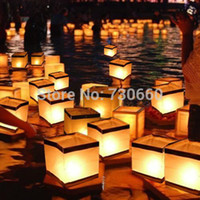 outdoor floating candles - Hot Retro Chinese Square Paper Wishing Floating Outdoor Water River Candle Lanterns Lamp Light High Quality