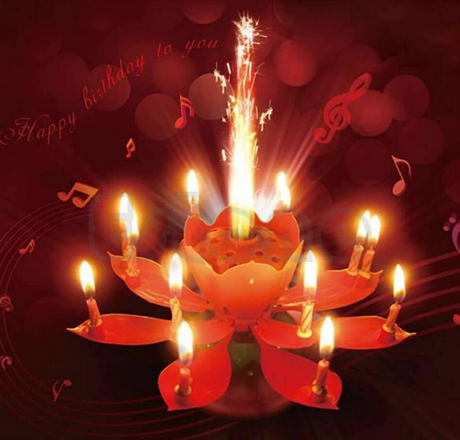 Wholesale amazing romantic music birthday candle firework musical wholesale amazing romantic music birthday candle firework musical lotus rotating happy birthday flower candle colorful rainbow 14 candles candle warmers izmirmasajfo