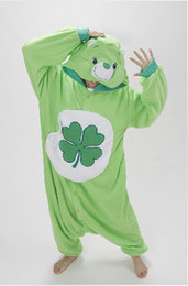 Wholesale Woman Bear Costume - Green Four-leaf Clover Lucky Care Bear Cosplay Pajamas Adult Women Men Unisex Onesie One Piece Hooded Romper Party Costumes