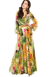 Wholesale Tropical Beach Dresses - [stock] xxl summer tropical rainforest flower print chiffon long dress women bohemian floral chiffon maxi dress beach dress
