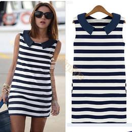 Wholesale Women Summer Jeans Dress - New Hot Summer 2015 Casual Stripe Jeans Dress for Women Denim Sailor Collar Sleeveless Slim Ladies Blouse Tops 41