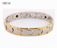 Wholesale Magnetic Power Bracelets - Gold plated power magnetic steel men's bracelet health germanium 316L Stainless Steel man Bracelets bangles Fashion men jewelry