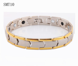 Wholesale Magnetic Jewelry Germanium - Gold plated power magnetic steel men's bracelet health germanium 316L Stainless Steel man Bracelets bangles Fashion men jewelry
