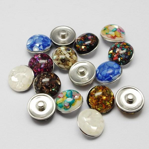 Free ePacket 50pcs/lot Mix colors18mm shell snap button silver metal ginger snap button charm fit for snap leather bracelet