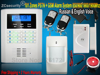 Wholesale Home Security Pstn Gsm - Wholesale-850 900 1800 1900MHZ PSTN GSM intercom Security Home GSM Alarm System with Russian and English Voice Czech Voice 2 Year warranty