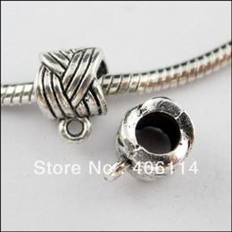 Wholesale Bracelet Connectors Hole - Wholesale-100Pcs Tibetan Silver 6mm Hole Tube Charms Bail Beads Fit Bracelets 8x11.5mm