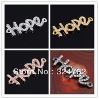 Wholesale Hope Bracelet Connectors - Wholesale-Free Shipping 40pcs lot Mixed Plated White Crystal Disco Ball Rhinestones Letters HOPE Connector Charm Beads making Bracelet