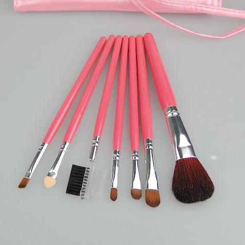 Poignée en bois de brosse de maquillage en nylon violet / rose pu 7 / set 4 / sac pinceaux maquillage maquillage professionnel brosse