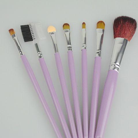 Nylon make-up borstel hout handvat paars / roze PU 7 / set 4 / zak borstels make-up professionele make-up borstel