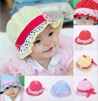 kleinkind mädchen eimer hüte großhandel-Freies verschiffen Neugeborenes Baby Kinder Kind Mädchen Kleinkind Baumwolle Eimer Topee floral Sun Cap Hut Sunhat