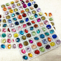 Wholesale Crystal Chatons Wholesale - 84pcs MIX Colors ss39 Round Glass Chatons Pointback Flat Top 39ss Crystal Stones Orange,Aquamarine,Citrine,Violet more colors