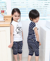 Wholesale Korean Style Owl Clothes - Hot sale 5setslot 2015 new Korean style owl baby suits boys and girls summer sets children clothes t shirt + pants free shipping