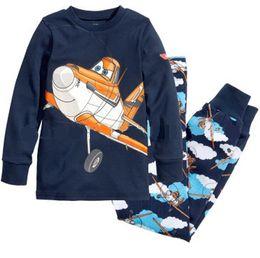 Wholesale Boys Pyjamas - Lovely kids planes pajamas set boys long sleeve spring autumn sleepwear clothing baby lovely pyjamas suit Free Shipping