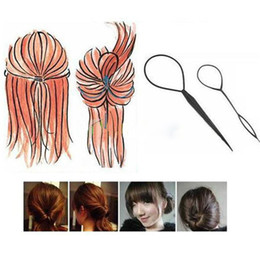 Wholesale Topsy Tool Hair Styles - Best Price 2* Plastic Topsy Tail Hair Braid Ponytail Styling Maker Clip Tool Black