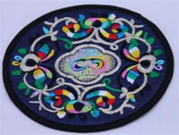Wholesale chinese cotton padded - Unique Fine Embroidery Decorative Round 2 Coaster Sets Chinese style Coffee Table Mat & pad 10pair lot mix color Free shipping