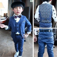 Wholesale Korean Boys Dressing - Korean Children's Clothing 2015 New Autumn Dark Blue Floral Suit 3PCS Dress Suits Gentleman Kids Boys Sets Pant+Blazer+Vest