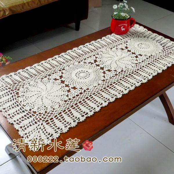 Cotton Lace Table Runner Crochet Table Cloth Fashion Cotton Knitted ...