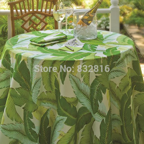 178CM Round 100% Polyester Banana Leaf Printed Dining Round Tablecloth  Outdoor Table Cover Waterproof/Oilproof 70 Inch
