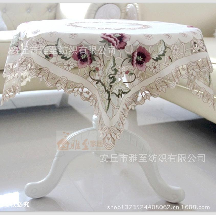 130 130square Grade Satin Fabric Embroidered Openwork Coffee Table Cloth Runner Tablecloth Round Tablecloths Pretty Kitchen