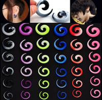 Wholesale Acrylic Tunnel Stretchers - 12PCs Acrylic Spiral Ear Plug Fake Cheater Stretcher Flesh Tunnel Stud Guages