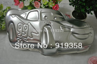 Wholesale Shaped Cake Tins - Wholesale-2015 Racing Car Shaped Cake Pans Baking Dishes Tin Decoration Tool Metal Cake Mould Cake Baking Pan Free Shipping