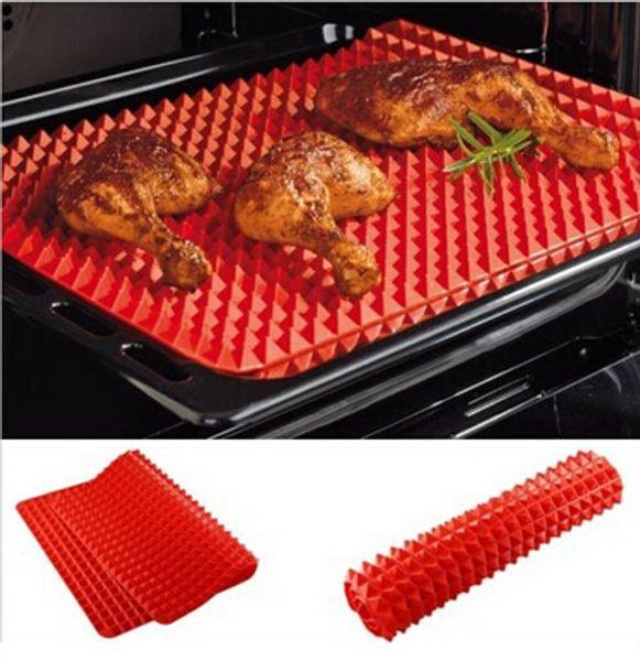 Toptan-Kırmızı Piramit Tava Yapışmaz Silikon Pişirme Mat Kalıp Pişirme Mat Fırın Pişirme Tepsisi