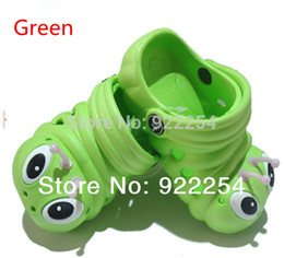 Wholesale Toddler Garden Shoes - Wholesale-New toddlers Baby Slippers children Garden Sandals Cartoon Caterpillar Kids EVA shoes Green Pink Red Blue Yellow Free shipping