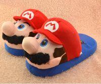 Wholesale Super Mario Bros Stuffed Animals - Wholesale-Children Creative Cute Super Mario Bros Cartoon Plush Slippers Warm Flip Flop Mario Luigi Babouche Stuffed Animal Slipper SM0114