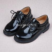 Wholesale White Lace Uniform - Wholesale-2015 new arrival black patent leather school boy loafers lace-up formal dress shoes uniform shoes