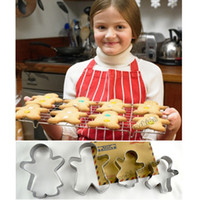Wholesale Gingerbread Cake Mold - Wholesale-Cute Baking Tools Stainless Steel Gingerbread Man Cookie Mould Cake Mold 3 Pieces  Set