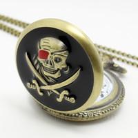 Wholesale Antique Pocket Watches Skull - Vintage Pirates Skull in One Piece Steampunk Pocket Watch P419