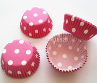Wholesale Pink Cupcake Liners Polka Dot - Free Shipping 300pcs Pink with White Polka Dot Mini Cupcake Liners Baking Cups Party Decorations Base33mm
