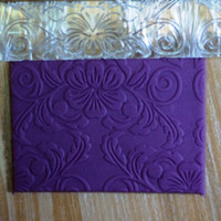 Wholesale Embossing Tools For Cakes - Wholesale-Acrylic Embossing Fondant Rolling Pin Embossed Flower Design Tools For Cake Cake Decorating Tool Biscuit Cake Moulds Cake Tools