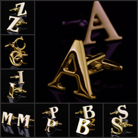 Wholesale Initial Cufflinks Wholesale - 26 Design Personal Initial Letter A - Z Gold Toned Stainless Steel Mens Cufflinks (Leave which design to send when order)