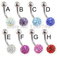 12pcs / lot 316L Edelstahl KristallShamballa Belly Piercing Bauchnabel-Ring Fancy baumeln Bauch-Nabel-Ring-Piercing Schmuck