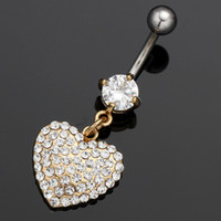 Wholesale Cheap Belly Rings Free Shipping - Free shipping 316L surgical stainless heart body piercing gold body jewelry cheap belly navel ring