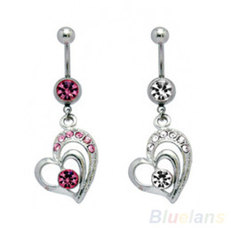 Wholesale Large Belly Button Rings - Surgical Steel Large Dangling Heart Belly Button Navel Ring 1IG8
