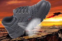 Wholesale Anti Puncture - fashion breathable work & safety shoes prevent slippery soft leather autumn boots anti-hit puncture proof steel toe black shoes