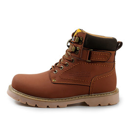 Wholesale Military Brown Boots - Spring New Fashion Mens Work Boots Fall Men Ankle Work Shoes Winter With Warm Plush Military Lace Up Boots Size 38 39 - 44 45