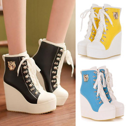 Wholesale Beige Sneaker Wedge - New Womens Lace Up High Top Sneakers Shoes Candy Colors Ladys Ankle Wedge Boots