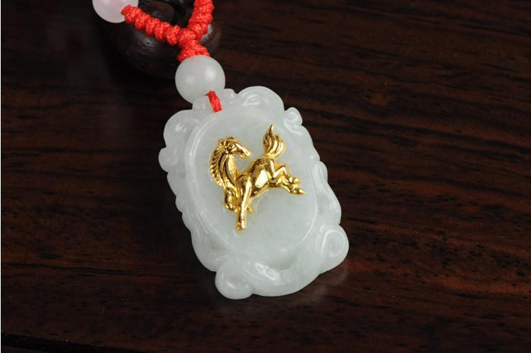 Fj horse natural jade emerald pure gold zodiac horse pendant horse natural jade emerald pure gold zodiac horse pendant necklace online with 3584piece on roc8905s store dhgate aloadofball Choice Image