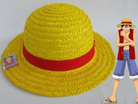 Wholesale Red Monkey Hats Wholesale - 5pc New One Piece Monkey D Luffy Anime Straw Hat Cap Cosplay free shipping