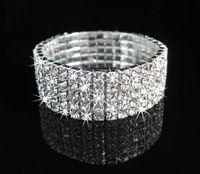 Wholesale Clear Cuffs - 5Rows Clear Sparkle Rhinestone Elastic Bracelet Cuff for wedding Bridal Accessories