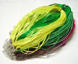 Wholesale Wholesale Craft Stainless Steel Chains - 100pcs lot Mix Color Organza Ribbon Necklace Cord For DIY Craft Fashion Jewelry Gfit Free shipping 18inch W3*