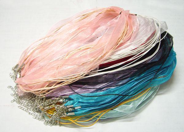 100ピース/ロットミックスカラーオーガンザリボンネックレスコードチェーンDIYクラフトファッションジュエリーギフト18INCH W3 *