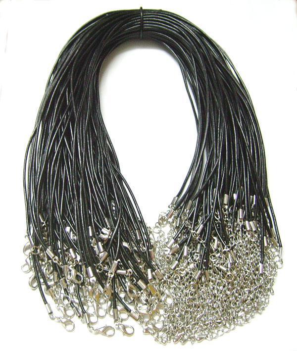 100st / mycket svart 2mm äkta läder halsband ledning tråd för DIY hantverk smycken gåva 18inch w2