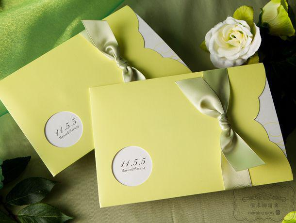 LIGHT BEAN GREEN WEDDING INVITATION CARDS FAVORS SUPPLIES YW1112 Wedding Invitations Invitation Cards Online With