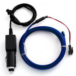 Wholesale El Car Meter - 6.56 foot (2 meter) Blue EL Wire(Neon wire,electrolumines wire) with 12VDC Car Plug Driver