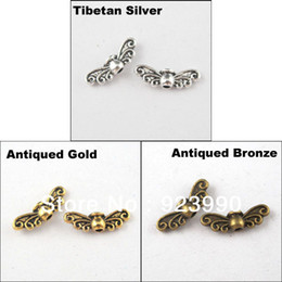 Wholesale Metal Wing Charms Diy - Free Shipping 60Pcs Tibetan Silver,Gold,Bronze Tone Wings Spacer Beads Charms 4.5x14mm For Jewelry Making Craft DIY