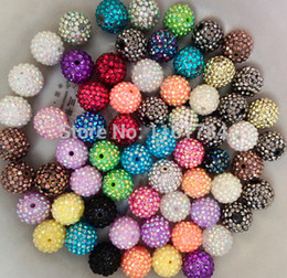 Wholesale Chunky Beads Mix - mix color 100PCS 20MM Chunky Resin Rhinestone Beads Bling Resin Ball Beads for kids necklace jeweley